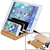 Bamboo Vinyl Record Stand - Multiple Device Charging Station Docking Bracket Office Electronics Desk Organizer 3 Charging Ports Compatible for Smartphone Tablets (Cable not Include)