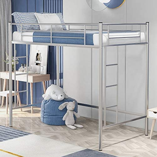 Rhomtree Twin Size Loft Bed Metal Bed
