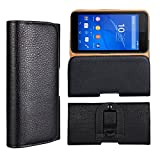 Xperia E4g Case, iCoverCase [Full Grain Pattern / Plain Pattern] PU Leather Pouch [Flip Cover] Carrying Case [Plain Pattern] Wallet Holster with Belt Clip for Sony Xperia E4g E2053 (Full Grain Pattern)
