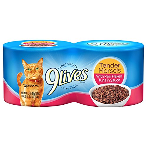 9Lives Tender Morsels With Real Flaked Tuna In Sauce Wet Cat Food, 4/5.5-Ounce Cans (Pack of 6)