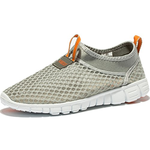Changping Damen Mesh Wanderschuhe Slip-on Casual Sport Laufschuhe Graue Orange