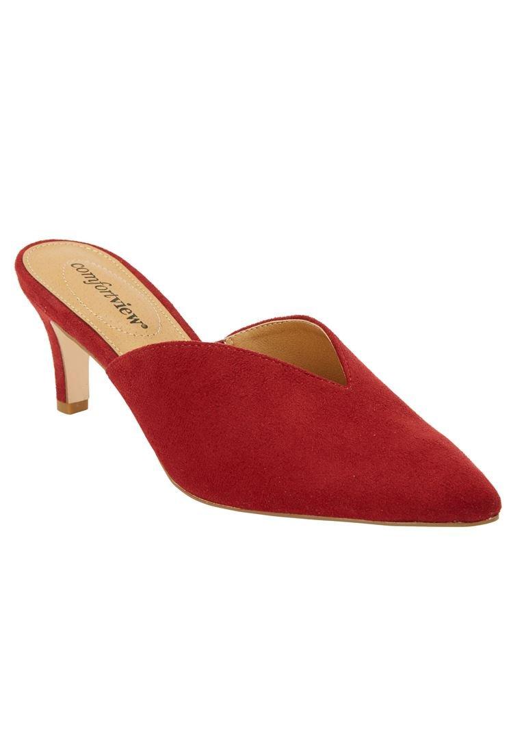 Comfortview Women's Wide The Angeline Mule Crimson,7 M