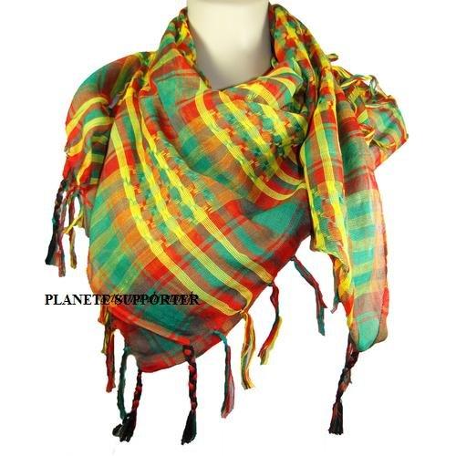 b2f623d872f2     PROMOTION     Foulard Palestinien - Keffieh - Chèche - Pashmina -  Multicolore jaune vert rouge ...  Amazon.fr  Sports et Loisirs