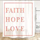 Orange Design Inspirational Bible Scripture Quotes Shower Curtain with Plastic Hooks 71''x71'', Faith Hope Love Waterproof Mildew-Resistant Fabric for Home Bathroom Decor No Liner Needed, White Pink