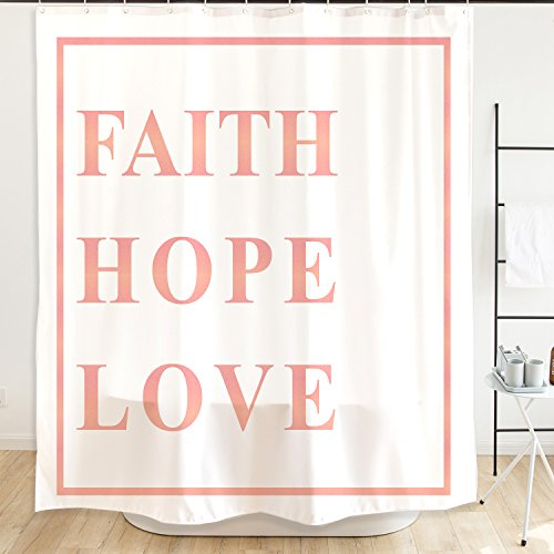 Orange Design Inspirational Bible Scripture Quotes Shower Curtain with Plastic Hooks 71''x71'', Faith Hope Love Waterproof Mildew-Resistant Fabric for Home Bathroom Decor No Liner Needed, White Pink by Orange Design
