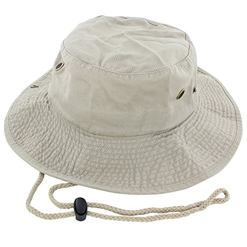 (100% Cotton Boonie Fishing Bucket Hat with String ,Khaki ,Large/X-Large)