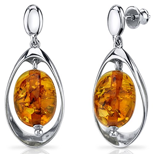 Baltic Amber Earrings Sterling Silver Cognac Color Oval (Amber Oval Post Earrings)