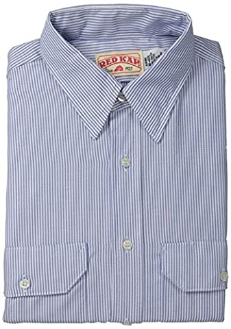 Red Kap Men's Deluxe Uniform Shirt, White/Blue Pin Stripe, Short Sleeve Medium - Deluxe Blue Shirt