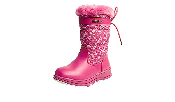La Vogue Girls Snow Boots Mid-Calf Waterproof with Snowflake Printing