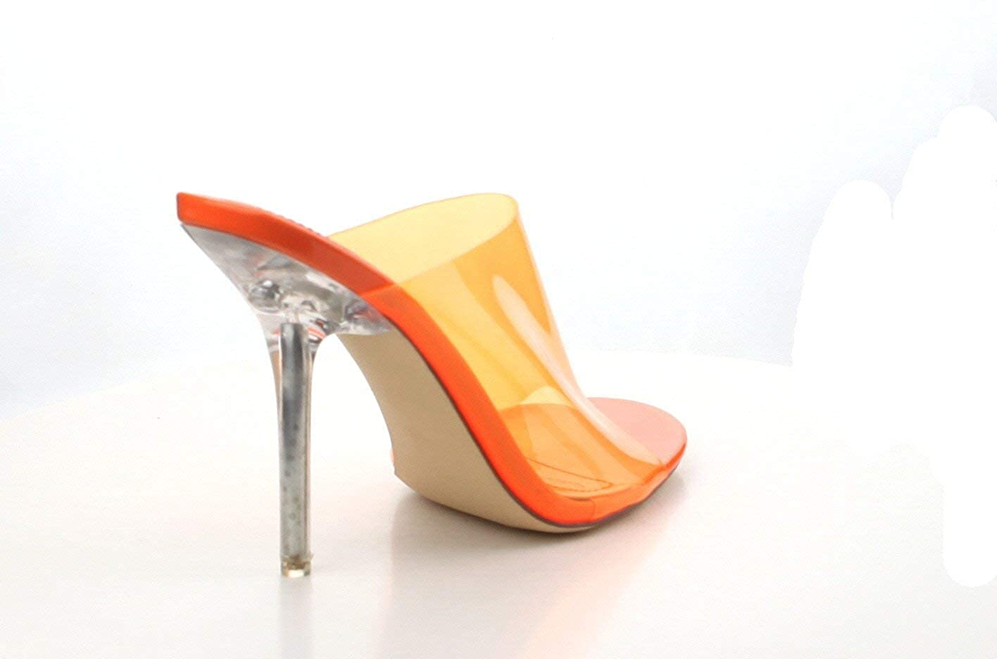 Shoes2Die4 Cape Robbin Paint Orange Transparent Open Toe Mule Heels