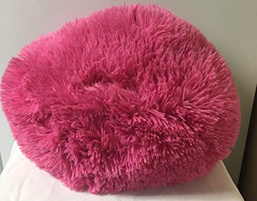 Clarke Cover - Jody Clarke 1 PC Plush Faux Fur Decorative Throw Pillow Cushion Shaggy Cover Velvety Fluffy Soft Cushion 30 cm Round Avilabale in Multiple Colors (Hot Pink)