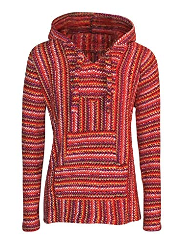 BuddhaHood Baja Eco Hoodie | Choose Color & Size | Embrace Outdoors in Warmth! (Red Threads: Red, Yellow, Blue, Green, Purple, Tan, White, Black, Small)