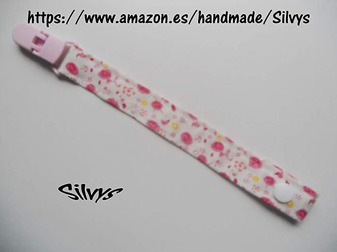 Chupetero de tela con clip Silvys, rosa y blanco con un bonito ...