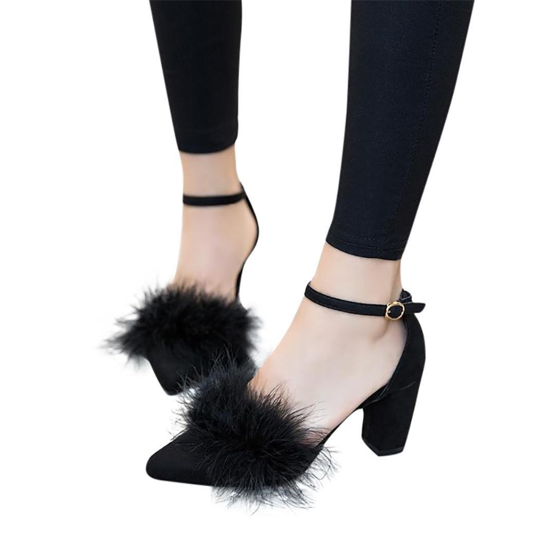 FORUU Women's Feathers High-Heeled Singel Plush Hollow Fine Heels Sexy Shoes (37, Black)