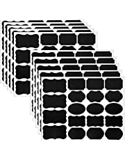 Wisdompro 190Pcs Chalk Board Labels Stickers for Food Jars, Spice, Glass, Cups, Bottles, Containers and Canisters, Decorative Reusable Waterproof Blackboard Labels - 10 Sheet (190Pcs)
