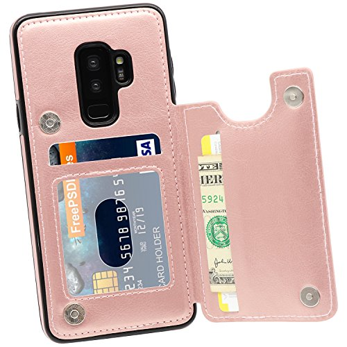 Galaxy S9 Plus Wallet Case, MMHUO Premium PU Leather Galaxy S9 Plus Case with Credit Card Holder Double Magnetic Buttons Flip Shockproof Protective Case Samsung Galaxy S9 Plus 6.2 Inch - Rose Gold