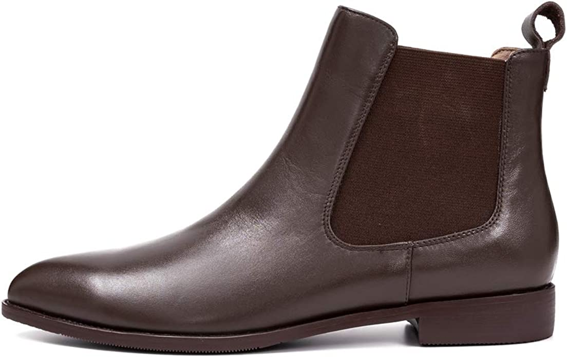 Pointed Toe Leather Chelsea Boots