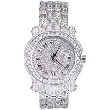 Techno Pave Totally Iced Out Pave Silver Tone Hip Hop Men's Bling Bing Watch