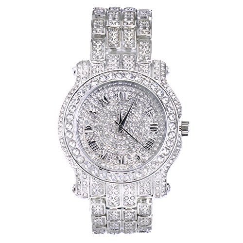 (Techno Pave Totally Iced Out Pave Silver Tone Hip Hop Men's Bling Bing Watch)