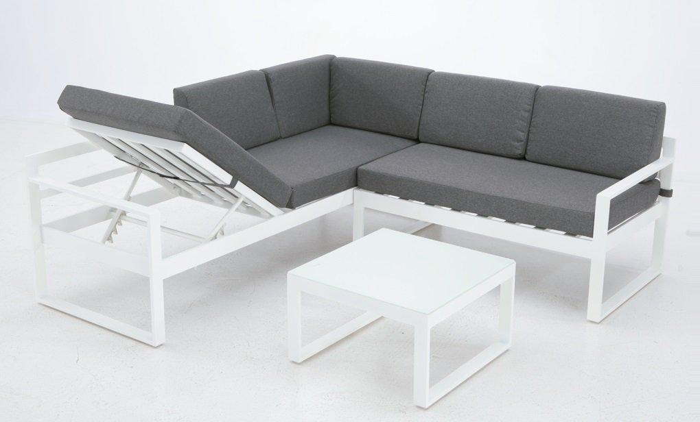 Set Zurich sofa rinconera aluminio blanco: Amazon.es: Jardín