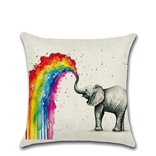 None Cotton Linen Throw Pillow Cover Case 18x18 Inch, Elephant