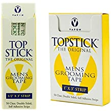 "Topstick Men's Clear Double Sided Grooming Tape Bundle - (1 Box of 50 Strips) 1"" x 3"" & (1 Box of 50 Strips) 1/2"" x 3"""