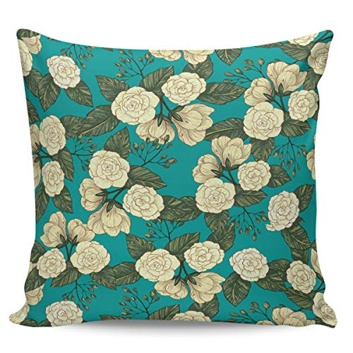 OUR WINGS Hand-Painted Art White Petal Flower Decorative Square Throw Pillow Covers Cushion Case for Home Sofa Bedroom Office Car 20