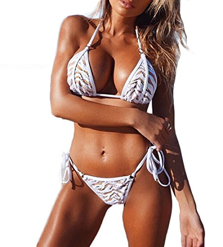Women Sexy See Through Lace Bikini Set Underwear Lingerie Bra Panty Set (XXXL, White) -