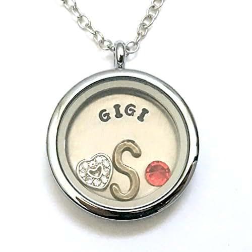 Amazon.com: Initial GIGI Necklace - Floating Charm Locket