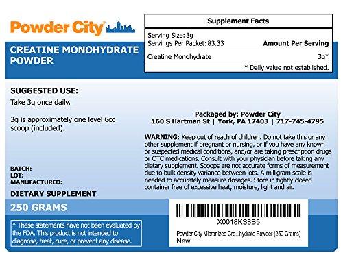 Powder City Micronized Creatine Monohydrate Powder (250 Grams)