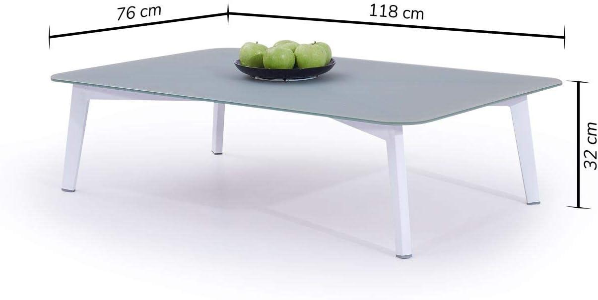 Tisch Diva 118 cm talfa Aluminium Gartentisch in Wei/ß
