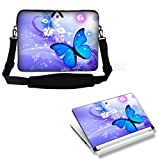 Meffort Inc 15 15.6 inch Laptop Carrying Sleeve Bag Case with Hidden Handle and Adjustable Shoulder Strap with Matching Skin Sticker Deal – Flyaway Butterfly Design, Bags Central