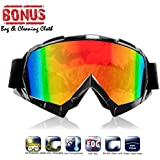 Atv goggles, Motocross Goggles Motorcycle Dirt Bike Ski Goggles Windproof Scratch Resistant Combat Goggles Adjustable UV Protective Safety Outdoor Glasses for Cycling, Climbing, etc