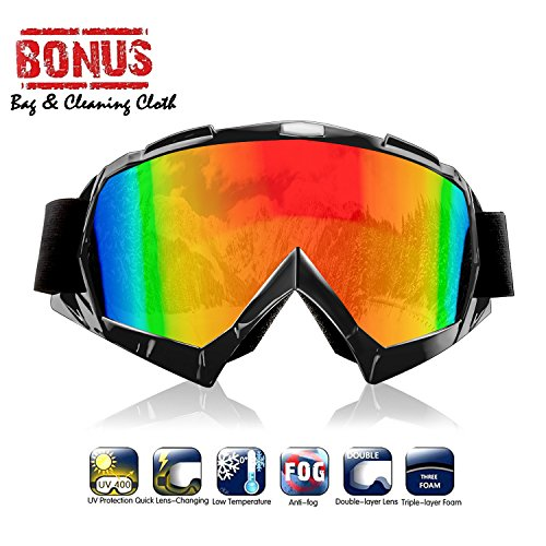 Atv goggles,Motocross Goggles Motorcycle Dirt Bike Ski Goggles Windproof Scratch Resistant Combat Goggles Adjustable UV Protective Safety Outdoor Glasses for Cycling,Climbing,etc (Black)