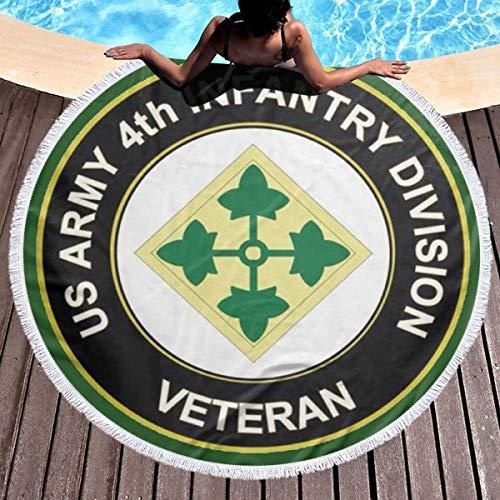 Us Army Fringed - Mog25d US Army 4th Infantry Division Veteran Fiber Circular Beach Towel Fringed Towel Picnic Tablecloth