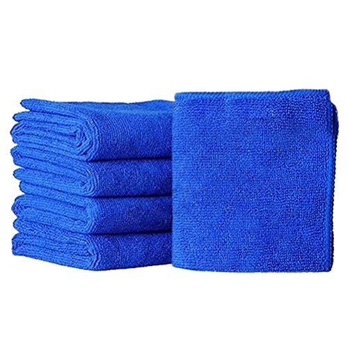 Paninee 10Pcs Absorbent Microfiber Towel Car Home Kitchen Washing Clean Wash Cloth Blue