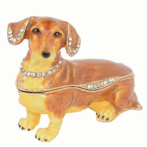 Crystals Jeweled Dachshund Dog Trinket Jewelry Box Collectible Gift Dog Statues Pet Lover Gift (Dog Hinged Trinket Box)