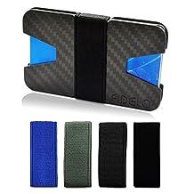 Slim Carbon Fiber Front Pocket Mens Wallet Money & Card Holder - Minimalist & Small Wallets for Men with Bills Clip Band