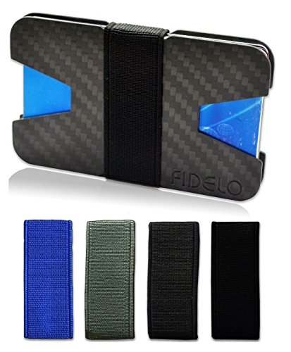 Slim Carbon Fiber Front Pocket Mens Wallet Money & Card Holder - Minimalist & Small Wallets for Men with Bills Clip Bands