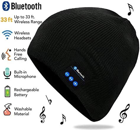 Wireless Bluetooth Beanie Hat Headphone by QScollection – Unisex Winter Music Knit Hat with Stereo Speaker and MIC Perfect for Outdoor Sports Men Women Teen Boys Girls Black