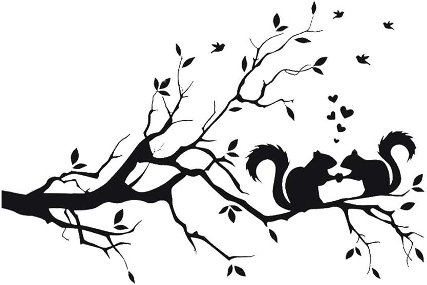 LZYMSZ 22 x 14in Black Tree Branches Wall Decor Decal Love Squirrel Sticker Nursery Leaves, DIY Removable Vinyl Wall Art Wallpaper Mural Home Decoration for Living Room, Bedroom, and Farmhouse Decor