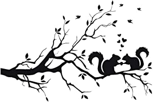 CUNYA 14 x 22in Black Squirrel on Tree Branches Wall Decor Stickers Nursery Leaves, DIY Removable Wall Art Decal Mural Wallpaper Home Decoration for Living Room, Bedroom, Farmhouse, Bathroom Decor