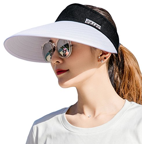 Sun Visor Hats for Women, Large Brim UV Protection Summer Beach Cap, 5.5''Wide Brim (Black & White)