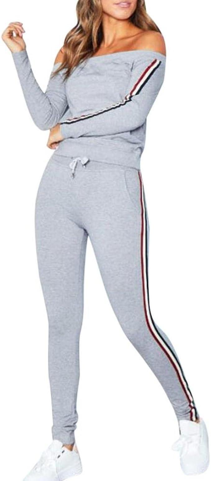 US Womens 2Pcs Tracksuit Hoodies Sweatshirt /& Pants Sets Sport Wear Casual Gym