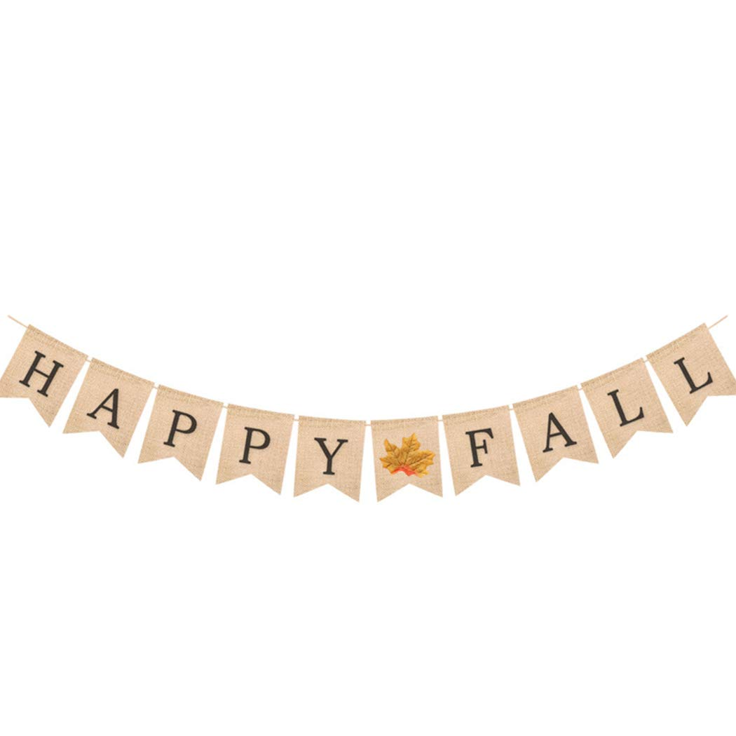 Funpa Autumn Happy Fall Pumpkin Burlap Banner Thanksgiving Day Bunting Flag Garland Harvest Home Decor Party Decoration (Maple Leaves)