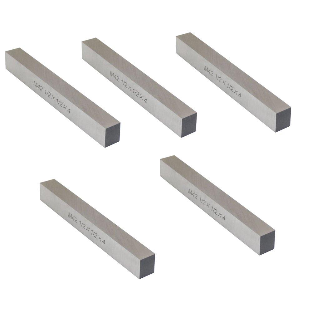 5 Pc M42 1/2'' x 1/2'' x 4'' Cobalt Steel Square Tool Bit Lathe Fly Cutter Mill Blank