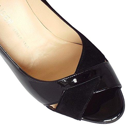 Del Alto Talón Peep Toe Zapatos Peter Kaiser Alda Mujeres En Mezcla De Ante Y Negro Patente BLACK MIX