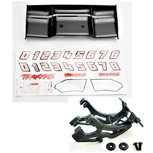 Traxxas 1/10 E-Revo BL BLACK PLASTIC WING, DECALS & MOUNT Spoiler (Revo Wing Mount)