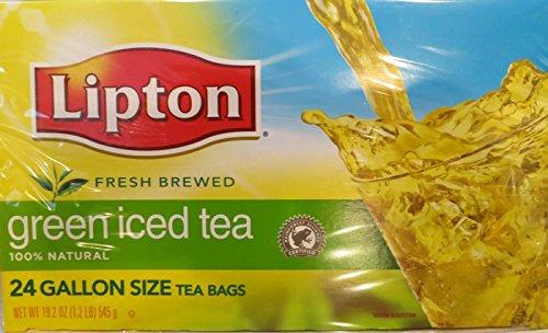 Lipton 100% Natural Fresh Brewed Green Iced Tea, 24 Gallon Size Tea (Lipton 100% Natural)