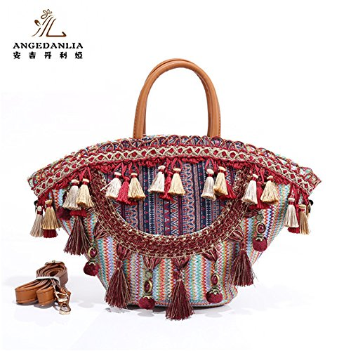 Straw Bag Tote- Angedanlia Woman Handmade Bag Summer Beach Woven Shoulder Bag Purse 3786 (Red)